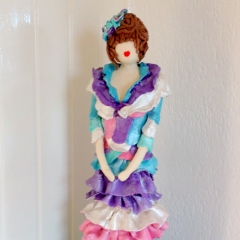 Clarise lange pop met rouches turqoise paars rose en wit parlemoer