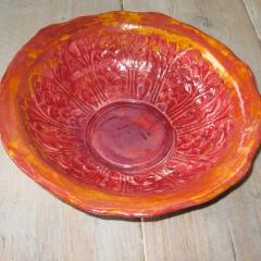 Schaal rood/oranje geglazuurd